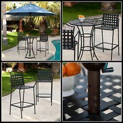 Wrought Iron Bistro Set Bar Height Back Chair Round Dinning Table Garden Outdoor