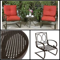 Wrought Iron Bistro Set 3 Piece Outdoor Patio Conversation Table Chair Furniture