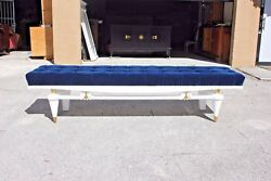 Monumental French Art Deco Snow White Lacquered Long Sitting Bench circa 1940s.