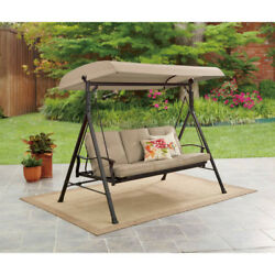 Porch Swing With Canopy Cover 3 Person Tan Cushions Outdoor Patio Furniture New