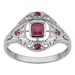 Natural Simple Eternal10k White Gold Vintage Style Ruby jewelry Ring size 6-10