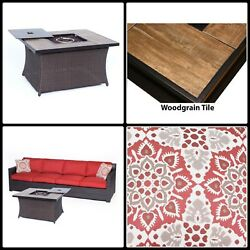 Patio Set With Fire Pit Faux Wood Tile Top Woven Cushioned Loveseat 3 Piece New