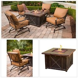 Patio Set With Fire Pit Lounge Cushioned Rocking Chair Stone Ceramic Top Outdoor