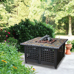 Fire Pit Square LP Gas w Slate Mantel Antique Bronze Finish Outdoor Garden New