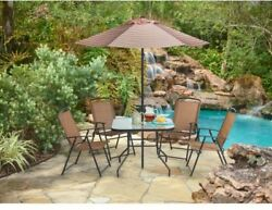 Outdoor 6-Piece Folding Patio Set Glass Top Table Chairs Umbrella Yard Pool Home