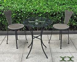 3 Piece Bistro Set Resin Wicker With Wrought Iron Frame Outdoor Garden Furniture