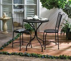 3 Piece Bistro Set Garden Patio Table And Chairs Black Finish Metal Construction