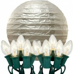 Electric String Lights With Paper Lanterns 10' 10-CountElectric String Lights