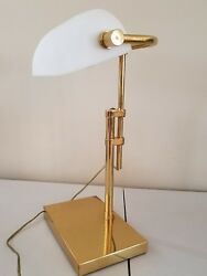 VINTAGE BRASS ART DECO BANKERS DESK LAMP WHITE GLASS SHADE