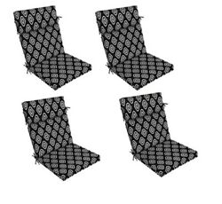 Black Ikat Outdoor Seat Cushion Set of 4 Replacement Cushions Patio Chair Pads