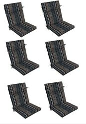 Outdoor Patio Seat Cushion Set of 6 Ikat Replacement Cushions Chair Blue Grey