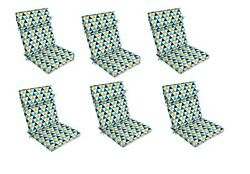 Blue Triangle Replacement Patio Chair Cushion Set of 6 Outdoor Furniture Dining