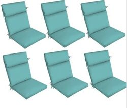Replacement Teal Patio Cushion Set of 6 Blue Outdoor Yard Dining Seat Chair Pads