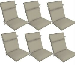 Grey Replacement Patio Cushion Set of 6 Gray Outdoor Yard Dining Seat Chair Pads