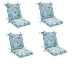 Paisley Replacement Patio Chair Cushion Set of 4 Outdoor Dining Pads Blue Green
