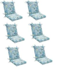 Paisley Replacement Patio Chair Cushion Set of 6 Outdoor Dining Pads Blue Green