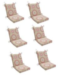Contemporary Replacement Patio Chair Cushion Set of 6 Outdoor Dining Pads Red