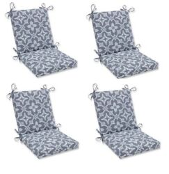 Ikat Gray Replacement Patio Chair Cushion Set of 4 Outdoor Dining Pads Pad Grey