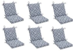 Ikat Gray Replacement Patio Chair Cushion Set of 6 Outdoor Dining Pads Pad Grey