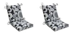 Floral Patio Replacement Chair Cushion Set of 2 Outdoor Dining Pads White Black