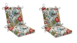 Bright Floral Replacement Patio Chair Cushion Set of 2 Outdoor Dining Pads Red