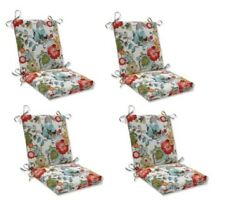 Bright Floral Replacement Patio Chair Cushion Set of 4 Outdoor Dining Pads Red