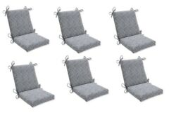 Contemporary Grey Replacement Patio Chair Cushion Set of 6 Outdoor Dining Pads