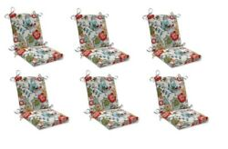 Bright Floral Replacement Patio Chair Cushion Set of 6 Outdoor Dining Pads Red