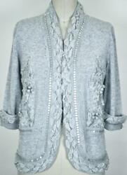 Exquisite Chanel 10P Cashmere Cardigan Jacket Sweater NEW 38 Collectible Grey