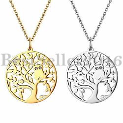 Womens Girls Tree of Life Owl Pewter  Stainless Steel Pendant Necklace 18