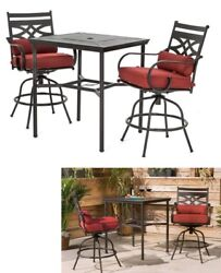 Red Bistro Bar Outdoor Dining Set Patio Furniture Table High Swivel Chairs Deck