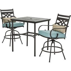 Blue Bistro Bar Outdoor Dining Set Patio Furniture Table High Swivel Chairs Deck