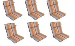 Stripe Replacement Patio Cushion Set of 6 Outdoor Thick Chair Cushion Pad Orange