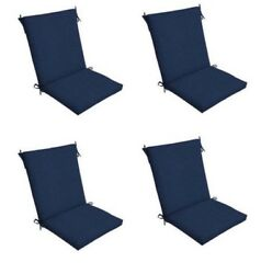 Dark Blue Patio Chair Cushion Set of 4 Outdoor Dining Replacement Cushions Seat