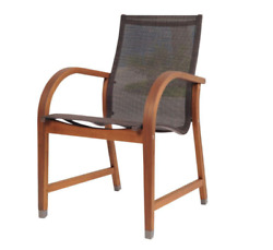 Patio Dining Chair Bahamas Brown Sling Durable Galvanized Steel Coastal 4 Pack