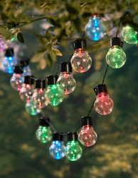 Outdoor String Lights Solar Flashing Patio Lighting Long Multi-Color or Color