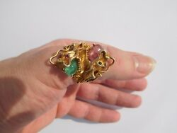 Incredible Victorian 14K Gold Ruby Emerald NOSEY Chinese Dragon Z Ring 12  34🐉