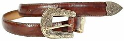 New Ladies Gold Antique Buckle Tapered Edge Tye Dye Print Leather Belts M-4XL