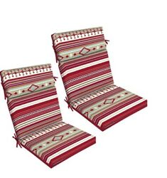 Red Stripe Outdoor Dining Chair Cushion Set of 2 Patio Deck Replacement Cushions