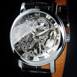 Mens Watch Automatic Silver Stainless Steel Case Skeleton Leather Analog Luxury $21.99