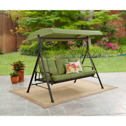 Porch Swing With Canopy Cover 3 Person Green Cushions Outdoor Patio Furniture