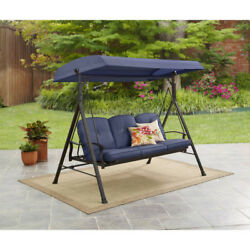 3 Person Porch Swing With Canopy Cover And Cushions Outdoor Patio Furniture Blue