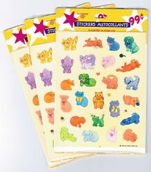 3 NEW Packs Vintage 1985 Hallmark Stickers!  Colorful Animals Cat Dogs 9 Sheets