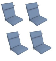 Blue Patio Dining Chair Cushion Set of 4 Outdoor Deck Replacement Cushions Thick