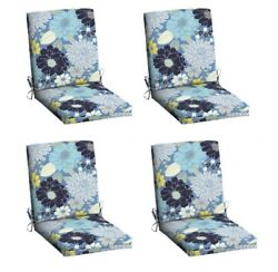 Blue Floral Replacement Patio Chair Cushion Set of 4 Outdoor Dining Cushions