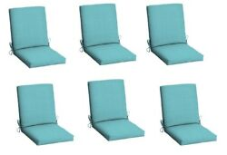 Turquoise Replacement Patio Chair Cushion Set of 6 Outdoor Dining Cushions Seat