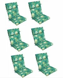 Floral Green Outdoor Dining Chair Cushion Set of 6 Patio Replacement Cushions