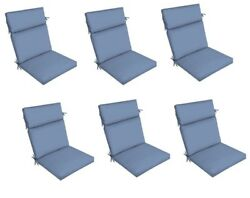 Blue Patio Dining Chair Cushion Set of 6 Outdoor Deck Replacement Cushions Thick