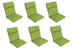 Green Patio Dining Chair Cushion Set of 6 Outdoor Replacement Cushions Thick