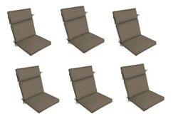 Brown Patio Dining Chair Cushion Set of 6 Outdoor Replacement Cushions Thick